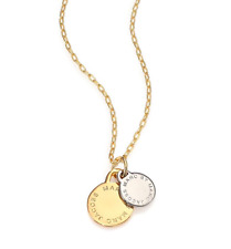 NWT Authentic MARC BY MARC JACOBS Logo Disco-O Two-Tone Pendant Necklace $68