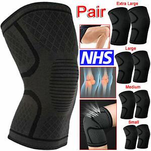 2x Knee Support Compression Sleeve Brace Patella Arthritis Pain Relief Gym UK
