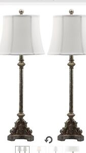 Safavieh Lighting Collection Rimini Console Antique Silver 33.5-inch Table Lamp