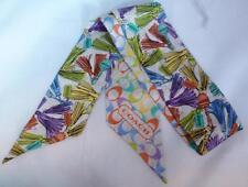 NWT COACH 100% Silk Multi-Color Tassel Ponytail Neck Scarf 83366