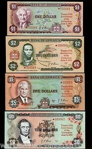 JAMAICA 1 2 5 10 DOLLAR 1978 CORONATION COMMEMORATIVE UNC MATCHING SERIAL # NOTE