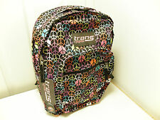 TRANS by JANSPORT  SUPERMAX Backpack BLACK MULTI HIPPIE HAND SUPER MAX TM601L3