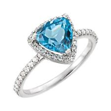 Swiss Blue Topaz and Diamond Halo Ring 14K White Gold Size 7