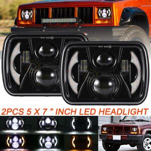 """2x FOR TOYOTA PICKUP TRUCK 7X6inch 5X7"""" Rectangle LED HI-LO DRL H6054 HEADLIGHT"""