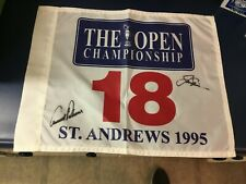 JACK NICKLAUS & ARNOLD PALMER ACTUALLY SIGNED 1995 ST. ANDREWS GOLF COURSE FLAG