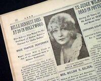 BELLE BENNETT Vaudeville Stage & Hollywood Movie Actress DEATH 1932 Newspaper