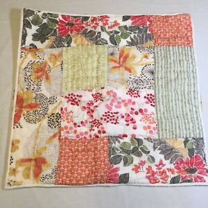 """Floral Patchwork Euro Pillow Sham Pottery Barn Quilted 25"""" x 25"""""""
