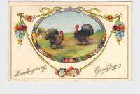 ANTIQUE POSTCARD THANKSGIVING TURKEY GREETINGS WREATH FRAME MUMS PINECONES
