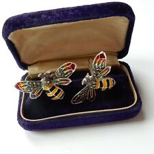 Plique a Jour Enamel Wasp Ruby Iinsect Cufflinks Sterling Silver