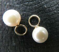 Pair Genuine Akoya Pearl Pendants Earring Charms w/14kt Gold Cap & Ring - 6.5mm