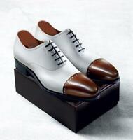 Chaussures habillées à lacets en cuir blanc et marron pour hommes à la main