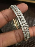 Pave 1,05 Cts Runde Brilliant Cut Diamanten Armreif Bracelet In 585 14K Rotgold
