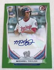 2014 Bowman Michael Taylor GREEN PAPER AUTO AUTOGRAPH RC #PA-MT 43/100 PHILLIES