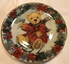"Franklin Mint Heirloom Collection 8"" Plate Teddy's Winter Wonderland Ha1314 New"
