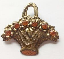 Pin Brooch Orange Rhinestone Jewelry Victorian Antique Flower Basket Paste