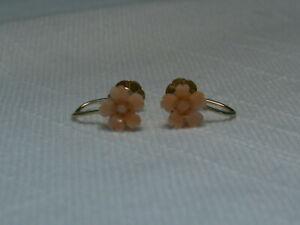 14K Gold,Carved Angel Skin Coral Flower Screwback Earrings