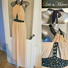 Little Mistress Maxi Halter Neck Dress 6 Nude Cream Beaded Occasion Christmas