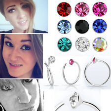 22G 0.6mm Helix Nose Ring Hoops 925 Silver Hoop w/ 2mm Crystal Top Jewelry Set