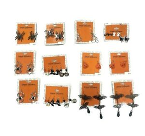 12 Sets Of Halloween Costume Jewelry Earrings, 18 Pairs Total - Ships From USA
