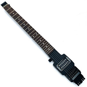 Electric travel headless guitar with tremolo in black color