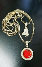 Hip Hop Praying Hands & Ruby Stone Pendant Combo Box Chain Set