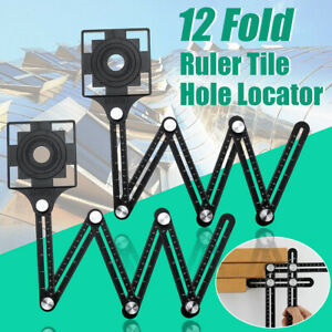 2Pcs Adjustable Multi Angle Ruler Measure Folding Position Tile Hole Locator
