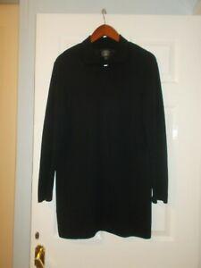 Vintage Laura Ashley  Wool Black Long Tunic Coatigan Cardigan M 14 16