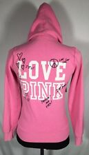 PINK Victoria's Secret Pink Zip Hoodie LOVE PINK FOREVER AND EVER! Sz XS
