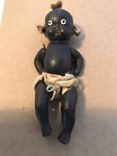 Antique Mini Bisque 4-1/2 Inch Tall Black Baby Doll-Made In Japan