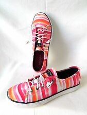 Girls size 4 M Sperry Seacoast Pink Watercolor Sneaker Shoe Slip On euro 36