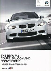 BMW M3 4.0 V8 Saloon Coupe Convertible UK Market Brochure 2010-2011