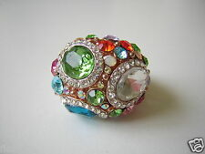 Gablonz/Strass?Mächtiger Modeschmuck Ring mit bunten Steinen 20,3 g/RG 57
