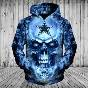 Dallas Cowboys Mens Horror Halloween Hoodie Pullover Sweatshirt Spooky Tops Gift