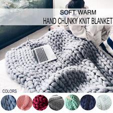 Lareg Warm Handmade Sofa Chunky Knitted Blanket Wool Thick Line Yarn Thro *#