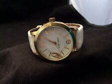 Gold Tone NINE WEST Women's Watch w/ White Leather Band Works