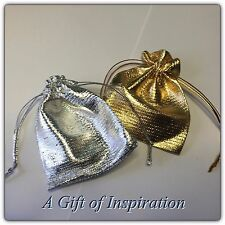 Pack of 5 GOLD gift bags 9cm x 7cm metalic drawstring, wedding, gifts, jewelery