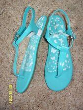 Girls teen Lands'end Sandals 6 M Patent look upper Blue Radiance Jelly Bottom