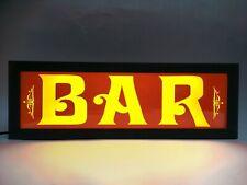 BAR - Vintage Style LED Light Sign - Ash Wood, USB powered - 44.5 x 15cm (IV)