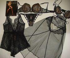 Victoria's Secret 32C BRA SET+s TEDDY/romper+SLIP babydoll Black chantilly lace