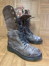 RARE🔥 Dr Martens Triumph Vintage Brown Leather Lace Boots Sz 8 Massai Flower #1