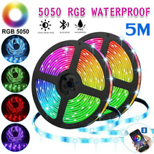 RGB LED Strip Lights IP65 Waterproof 5050 5M 300 LEDs 12V + Bluetooth Receiver