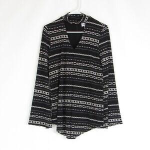 Black white geometric JOSEPH RIBKOFF stretch bell sleeve tunic blouse 4