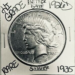 1926 D PEACE SILVER DOLLAR HI GRADE GENUINE U.S. MINT RARE COIN 1935