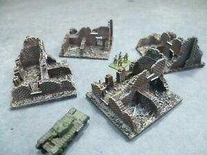 4 Painted model ruined buildings for 6mm wargames, 1/300th and 1/285th scale