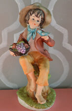 Vintage Porcelain Figurine - Country Boy w/ Blue Bird & Fruit Basket Figurine
