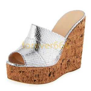Trend Peep Toe Pantoletten Damenschuhe Lackleder Keilabsatz Sexy Sandalen Pumps