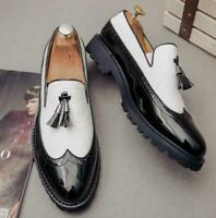 Mens Brogue Carving Tassels Casual Pointy Toe Slip On Loafers dress shoes