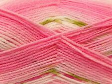 100gr Baby Design #22047 Pinks White Green Design Striping Acrylic Yarn 393yds