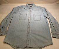 Levi's Red Tab Jeans Sz L Denim 100% Cotton Metal L/S Button Shirt