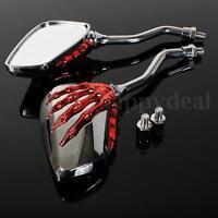 2x Universal Motorrad Rückspiegel Spiegel rot Schädel Skelett Skull 8mm 10mm  !